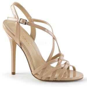 Beżowe 13 cm Pleaser AMUSE-13 sandały na obcasie