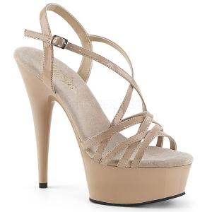 Beżowe 15 cm Pleaser DELIGHT-613 Sandały na wysokim obcasie