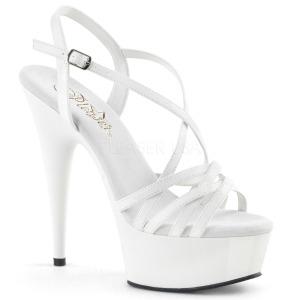 Biały 15 cm Pleaser DELIGHT-613 Sandały na wysokim obcasie