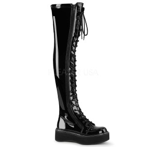 Czarne Lakierowane 5 cm EMILY-375 kozaki za kolano ze sznurowadłami