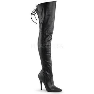 Czarne Skóra Ekologiczna 13 cm LEGEND-8899 Kozaki za kolano na obcasie