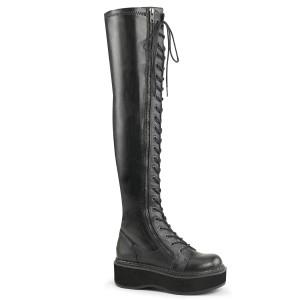 Czarne Skóra Ekologiczna 5 cm EMILY-375 kozaki za kolano ze sznurowadłami