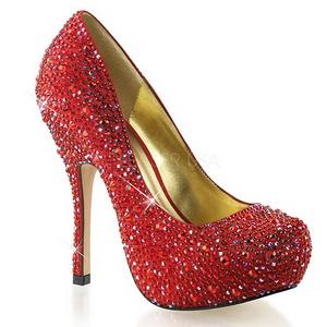 Czerwone Błyszczącymi Kamieniami 13,5 cm FELICITY-20 buty damskie na obcasie