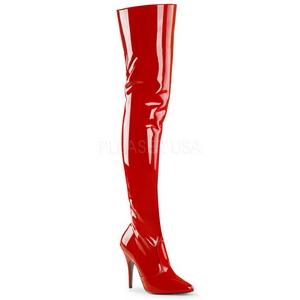 Czerwone Lakierki 13 cm SEDUCE-3010 Kozaki za kolano na obcasie