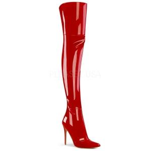 Czerwone Lakierowane 13 cm COURTLY-3012 pleaser kozaki za kolano