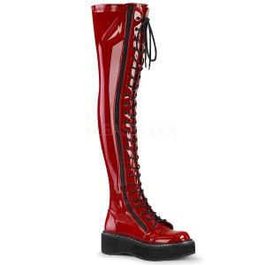 Czerwone Lakierowane 5 cm EMILY-375 kozaki za kolano ze sznurowadłami