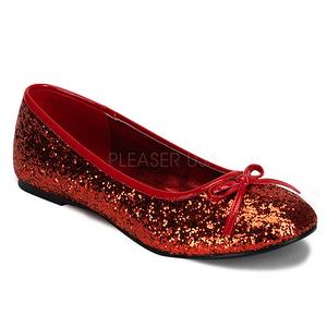 Czerwone STAR-16G Glitter Płaskie Baleriny Buty Damskie
