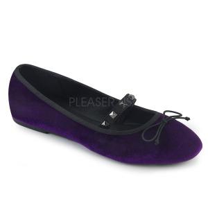 Purpurowy Aksamit DEMONIA DRAC-07 baleriny płaskie buty damskie