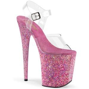 Różowe brokatem 20 cm FLAMINGO-808CF buty do tańca pole dance