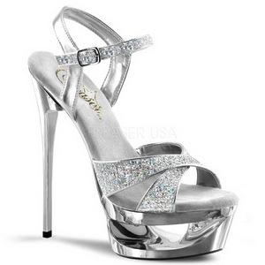 Srebrne Glitter 16,5 cm Pleaser ECLIPSE-619G Platformie buty na szpilkach