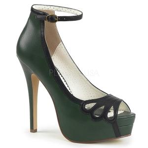 Zielony Skóra Ekologiczna 13,5 cm BELLA-31 buty czółenka peep toe na obcasie