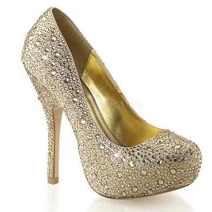 Złoto Błyszczącymi Kamieniami 13,5 cm FELICITY-20 buty damskie na obcasie