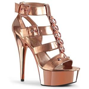 Złoto Skóra Ekologiczna 15 cm DELIGHT-658 pleaser buty na wysokie obcasy