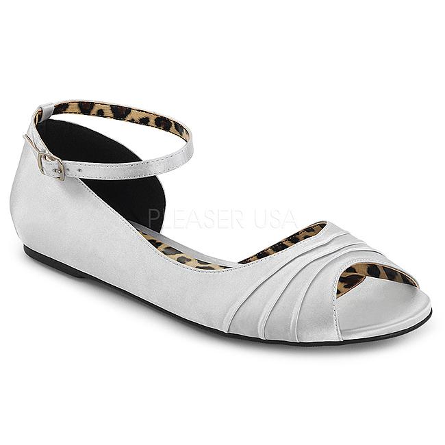 9a90f210ad Srebrne Satyna ANNA-03 duże rozmiary baleriny buty
