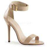 Beżowe 13 cm Pleaser AMUSE-10 Wysokie sandały na szpilce