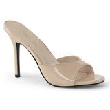 Beżowe Lakierowane 10 cm CLASSIQUE-01 duże rozmiary klapki buty