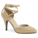 Beżowe Lakierowane 10 cm DREAM-408 duże rozmiary szpilki buty