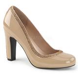 Beżowe Lakierowane 10 cm QUEEN-04 duże rozmiary szpilki buty