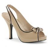 Beżowe Lakierowane 11,5 cm PINUP-10 duże rozmiary sandały damskie