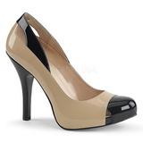 Beżowe Lakierowane 12,5 cm EVE-07 duże rozmiary szpilki buty
