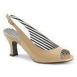 Beżowe Lakierowane 7,5 cm JENNA-02 duże rozmiary sandały damskie