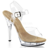 Beżowe Przeźroczysty 13 cm LIP-108 Platformie high heels obuwie