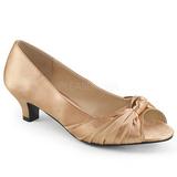 Beżowe Satyna 5 cm FAB-422 duże rozmiary szpilki buty