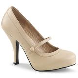 Beżowe Skóra Ekologiczna 11,5 cm PINUP-01 duże rozmiary szpilki buty