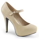 Beżowe Skóra Ekologiczna 13,5 cm CHLOE-02 duże rozmiary szpilki buty