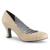 Beżowe Skóra Ekologiczna 7,5 cm JENNA-01 duże rozmiary szpilki buty