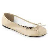 Beżowe Skóra Ekologiczna ANNA-01 duże rozmiary baleriny buty