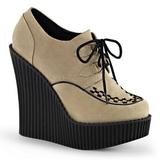 Beżowe Skóra Ekologiczna CREEPER-302 platformy creepersy buty kliny