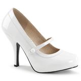 Białe Lakierowane 11,5 cm PINUP-01 duże rozmiary szpilki buty