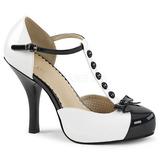 Białe Lakierowane 11,5 cm PINUP-02 duże rozmiary szpilki buty