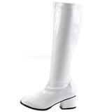 Białe Lakierowane 5 cm RETRO-300 Wysokim Obcasie Kozaki Damskie