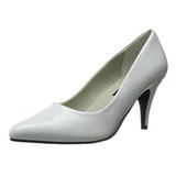 Białe Lakierowane 7,5 cm PUMP-420 klasyczne szpilki damskie