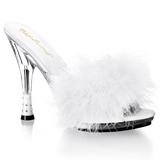 Biały 12,5 cm GLITZY-501-8 pióra marabuta Klapki