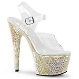 Biały Kamieńiami 18 cm BEJEWELED-708MR High Heels Platformie Buty
