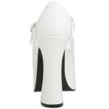 Biały Lakierki 13 cm DOLLY-50 Buty Szpilki Mary Jane