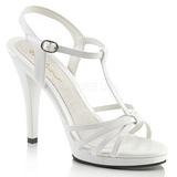 Biały Lakierowane 12 cm FLAIR-420 Sandały damskie na obcasie