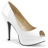 Biały Lakierowane 13,5 cm CHLOE-01 duże rozmiary szpilki buty