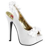 Biały Satyna 14,5 cm Burlesque TEEZE-56 Sandały na wysokim obcasie