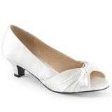 Biały Satyna 5 cm FAB-422 duże rozmiary szpilki buty