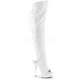 Biały Skóra Ekologiczna 15 cm DELIGHT-3019 overknee kozaki muszkieterki