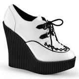 Biały Skóra Ekologiczna CREEPER-302 platformy creepersy buty kliny