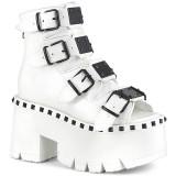 Biały Vegan 9 cm ASHES-70 Gotyckie Platformie botki na grubym obcasie