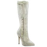 Biały tkaniny koronki 13 cm AMUSE-2012 Kozaki na wysokie obcasie