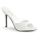 Biały 10 cm CLASSIQUE-01 Niskie Klapki Damskie