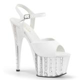 Biały 18 cm ADORE-709VLRS platformy buty na wysokiej z kryształkami