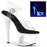 Biały 18 cm MOON-708UV Sandały na wysokim obcasie Neon
